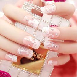 24 piezas de moda fresca larga uñas falsas óvalo rosa diamantes estilo de flor de cerezo kimono japonés decoración de flores novia niña desde fabricantes