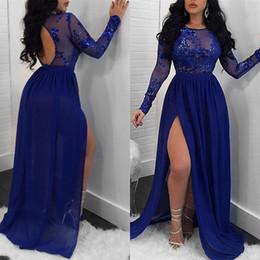Argentina Royal Blue Vestidos de baile 2019 Una línea Joya Cuello Muslo Lado alto Dividir Espalda abierta Batas Vestidos de noche formales brillantes DP0246 Suministro