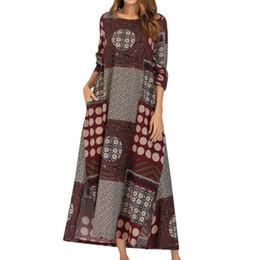 2019 túnica de algodón Verano 2019 Robe Longue Femme Elegante vestido Algodón y lino Sueltos Tres bolsillos con estampado quarte Vestidos casuales rebajas túnica de algodón
