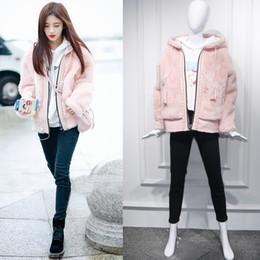 Fauxpelz süßer online-Sweet Pink Faux Fur Coat 2018 Frauen Kapuzenjacke Mantel Lose Warme Winter Weibliche Kunstlederjacke Fell Manteau Femme Hiver