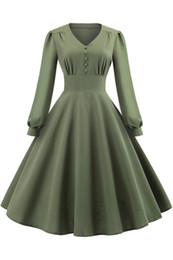 2019 swing verde Rockabilly Army Green Abiti casual Una linea scollo a V Vintage maniche lunghe Womens Swing Party Dress abiti economici FS6143 swing verde economici