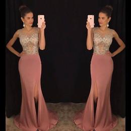 2018 brillante paillettes d'argent sirène robes de soirée sirène pure bijou cou Split robes de soirée célébrité, plus la taille robes tapis rouge ? partir de fabricateur