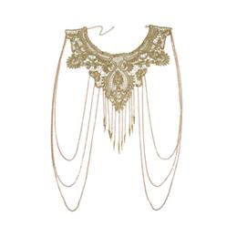 2019 bordados bordados Mulheres Borlas de Ouro Bikini Crossover Harness Cintura Barriga Do Corpo Colar de Corrente Floral Guarnição Guipure Guarnição Do Laço Bordado bordados bordados barato