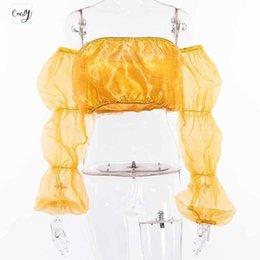 Camisola de alças amarela on-line-Poliéster Moda Tanque Yellow Tops Mulheres Verão Cropped Casual Top Feminino Alças Malha Sexy Sólidos Top Curto Nova