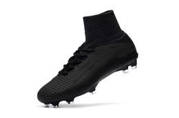 acaa58cab9a Sale 2017-2019 All Black Soccer Cleats Mercurial Superfly V TF IC FG  Ronaldo CR7 Football Boots Mens Kids Womens Soccer Shoes