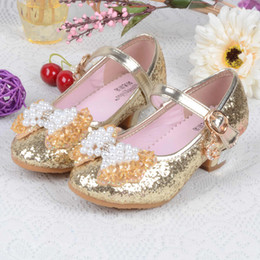 Sandali da festa per bambini online-Primavera Autunno Girls High Heel principessa Shoes Danza Sandali Bambini Scarpe glitter Leather Fashion Girls Party Dressing scarpe da sposa