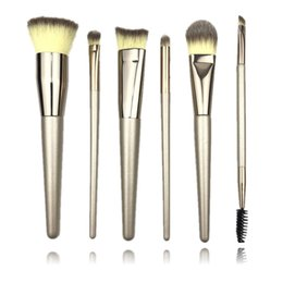 trucco di lusso Sconti Luxury Champagne Makeup Brushes 6pcs / Set per Foundation Powder Blush Eyeshadow Concealer Grande Make Up Brush Cosmetici Beauty Tool Q200