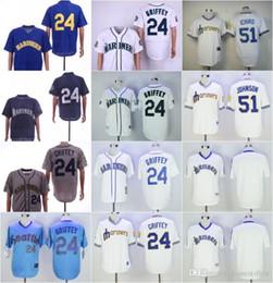 T-shirts blancs vierges en Ligne-Nouvelles de Seattle bon marché Blank 24 # Griffey 51 # ICHIRO JOHNSON Blanc Bleu Gris Rétro jeu de baseball rétro T-shirt Cousu