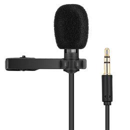 Cablaggio del microfono del pc online-Mini microfono portatile Registrazione audio Collare a condensatore Clip Lavel Lavalier Microfoni con microfono da 3,5 mm per PC portatili