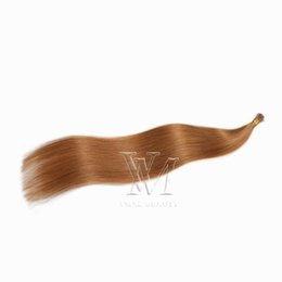 Pelo castaño liso online-VMAE # 30 Indian 1g Strand 50g Extensiones de cabello prebonded Auburn Brown Brown Straight Keratin Single Draw Drawn I Tip Virgin Human Hair Extension