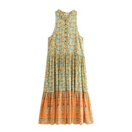 052f73a58e02 Gypsy Boho Chic Summer Vintage Floral Print Pleated Maxi Dress Women  Fashion Buttons V Neck Beach Dresses Casual Femme Vestidos Y19053001