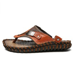 0b170305eb2db Chinese Outdoors Men Beach Sandals Comfortable Summer Shoes Men Slippers  Classics Flip Flops Cowhide Handmade Moccasin