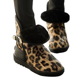 Canada KLV 2019 NOUVELLES chaussures femme confortable Hiver Bout Rond Léopard Imprimer Plat botte femme 2019 nouveau Garder Au Chaud Boucle Sangle Neige Bottes # 78 supplier flat leopard snow boots Offre