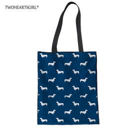 Lindos bolsos azules online-Twoheartsgirl Blue Dachshund Dog Print Tote Bag para Mujeres Lindo Bolso de Lona de Las Niñas Universitarias Casual Ladies Beach Bolsa de Hombro