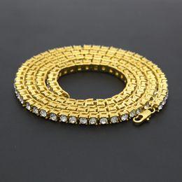 2020 catene di diamanti mens Gold Chain di Hip Hop Row diamante simulato di Hip Hop della collana dei monili catena 18-20-24-30 pollici Mens tono oro ghiacciato fuori Collana a Catena sconti catene di diamanti mens