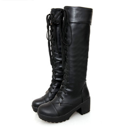 ba9cb7dba7687 capitalKeyWord Australia - Large Size 43 Lace Up Knee High Boots Women  Autumn