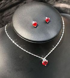 Conjunto de collar de piedra púrpura online-Conjunto de joyería púrpura rosa roja de moda para mujer Corazón CZ Colgante de piedra Colgantes Collares Pendientes conjunto AMOR Regalo de aniversario