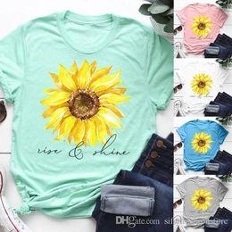 2019 brillar camiseta de moda 2019 Fashion Rise and Shine Sunflower Graphic Tee Summer Casual Short Sleeve T-Shirt Faith Shirt rebajas brillar camiseta de moda