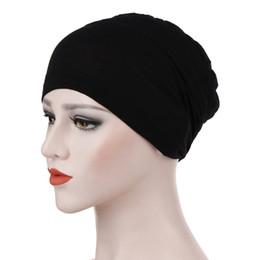 Trendy Katı Renk Kadınlar Müslüman Başörtüsü Şapka Bohemia Stil Lady Türban Kap Bere Eşarp Türban Başkanı Wrap Cap Aksesuarları supplier hijab accessories nereden ahşap aksesuarlar tedarikçiler