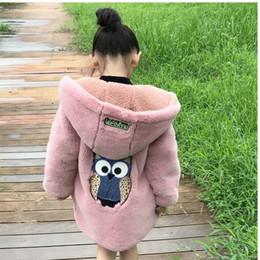 Suéteres de invierno búho online-Suéteres para niñas Winter Explosion Versión coreana del abrigo cardigan largo de los búhos gruesos de los nuevos niños grandes.