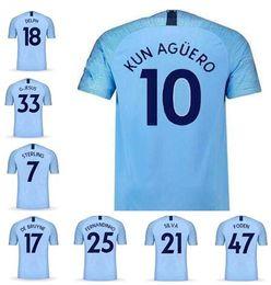 9cc97be96ff Thai Quality 18-19 Soccer Jersey Shirts  7 STERLING 10 Kun Agüero 17 DE  BRUYNE 33 G. JESUS 19 Sané Jerseys Tops