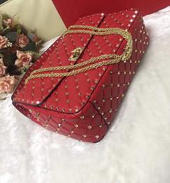 Borsa da donna in vera pelle di grande formato vera e propria borsa di alta moda reticolo di diamante rivetto metallico cross body pack pelle di pecora pieno inizio OL 30 cm da