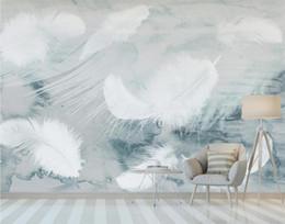 schönheit stoff blau Rabatt Nordic Aquarell Feder Tapete 3D Wandbild für Wohnzimmer Schlafzimmer Home Wall Decor Art Tapetenrollen Kontakt Papier Benutzerdefinierte