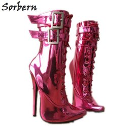 Sorbern Sexy Fetish High Heel Ankle Boots Unisex Plus Size Zip 18Cm  Stiletto Double Strap Buckles Hot Pink Metallic Shoes Heel 9f5e15770597