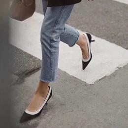 sandália lisa de marca stiletto Desconto Plus Size Sapatos de Salto Alto Mulheres Pista Dedo Apontado Sapatos de Salto Baixo Mulher Gladiador Sandálias Senhora Design Da Marca de Malha Sapatos Baixos tamanho 35-42