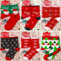 Calcetines de navidad alces rojos online-Wint Navidad de la red del calcetín hombres de las mujeres de dibujos animados ciervos Elk calcetines de algodón Mantener caliente chica del bebé, medias suaves Año Nuevo Decoración WX9-1720