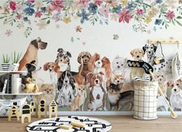 3d обои на заказ фотообои скандинавские творческие милые группы щенков цветы детская комната фон стены домашнего декора стены художественные картины cheap group pictures от Поставщики групповые фотографии