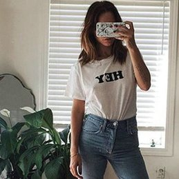 348e956b8 Hey t shirt Anti shrink short sleeve gown tops New letter unisex tees  Fastness print clothing Pure color modal tshirt