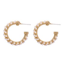 Personnalisé de mode C incrusté boucles d'oreilles perle conception simple bague oreille populaire rétro vent palais boucles d'oreilles ? partir de fabricateur
