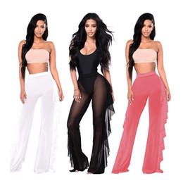 Pantalones transparentes femeninos online-2019 Mujeres Beach Cover up Trajes de baño Pantalones de playa Pantalones transparentes transparentes Volantes Pantalones de baño de cintura alta de malla femenina