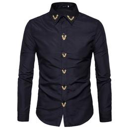 2019 chemises brodées pour hommes Marque Mode Homme Chemise À Manches Longues Tops Brodé Casual Haute Quailty Hommes Robe Chemises Slim Hommes Chemise XXL promotion chemises brodées pour hommes