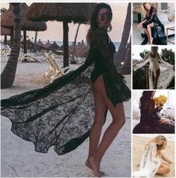 copertine classiche di caramelle Sconti 2019 Floral Women Lace Hollow Crochet Swimwear Bikini manica lunga Cover Up Beach Dress Sarongs Kaftan