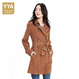 Ceinture en cuir marron en Ligne-Top 100% cuir véritable manteau coupe-vent femme ceinture brune à double boutonnage femmes longue veste européenne longue peau de mouton survêtement Dame