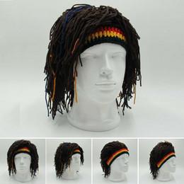 Beanie di rasta online-Cappelli Cappello Capelli Rasta Reggae Dreadlocks unisex giamaicani maglia Berretti parrucca donna cappello del partito