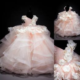 Deutschland Vintage V-ausschnitt Ballkleid Spitze Applique Perlen Tiered Röcke Prinzessin Kleider Kinder Kinder Kleidung Mädchen Geburtstag Party Brautkleider Versorgung