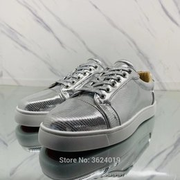 Low cut shoe cl andgz Silver Mirror Snake Lace up Rivets Fashion Party Red  bottoms shoes For Man Sneakers leather Loafers casual 82eb95612408