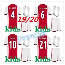 2019 bolas vermelhas grandes 2019 2020 Ajax FC Camisas De Futebol em casa kits de crianças 19/20 Personalizado # 7 NERES # 10 TADIC # 4 DE LIGT # 22 ZIYECH Camisa de Futebol