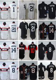 Personalizzato Uomini donne giovani Majestic White Sox Jersey # 1 Adam Eaton 8 Bo Jackson 14 Paul Konerko 21 Todd Frazier Throwbacks Maglie da baseball da