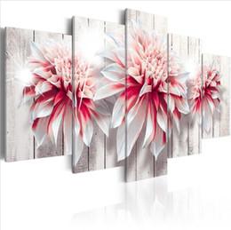 billige kunstfarbe Rabatt 5 PCSHigh Qualität Leinwand Blume Malerei Heavenly Dahlien 5 Stück Blumen Kunst Günstige Bild Home Decor Auf Leinwand Moderne Wand Drucke (Kein Rahmen)