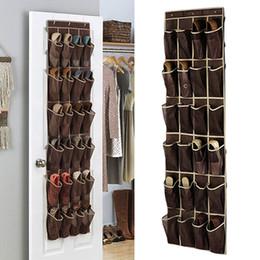 sandalias de acrilico Rebajas Nuevo 24 rejilla en casa sobre la puerta Organizador colgante Conveniente almacenamiento Holder Rack Closet Zapatos percha