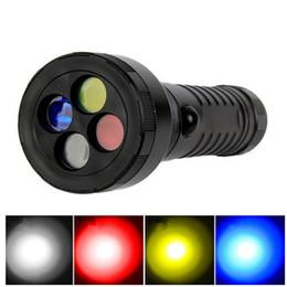 Taschenlampenbereich online-Outdoor-Notlicht weiß rot gelb blau vier Signallicht Bahnsignal führte Blendung Langstrecken-Taschenlampe ZZA839