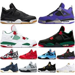 2019 zapatos púrpuras del satén 4 Tattoo Singles Day Travis Scotts Raptors para hombre Zapatos de baloncesto 4s Cemento blanco Denim Blue Purple Bred Hombres Zapatillas deportivas de diseño Zapatillas de deporte rebajas zapatos púrpuras del satén