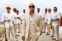 Yeni Bej Keten Düğün Takım Elbise Plaj Damat Smokin 3 Parça (Ceket + Pantolon + Yelek) Damat Erkek Takım Elbise İyi Adam Blazer 3 nereden
