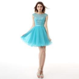 Canada Modest Blue Homecoming Robes De Bal Courtes Perles Top Jewel Sans Bretelles Dos Nu Mini Robe De Cocktail De Fête Pour Les Filles SH0045 Offre