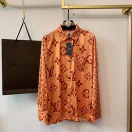 Blusas de moda para mujer online-Blusas de las mujeres carta de Impresión Camisas de Manga Larga Dama Impresión Ropa Retro Camisa de Cuello de Solapa Moda Retro Streetwear Blusas G-2