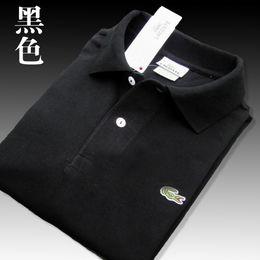 Хлопок из поло онлайн-Высокое качество Крокодил Polo Shirt Men Твердая воды для стирки хлопка Шорты летние Homme Футболки мужские Поло Рубашки Poloshirt L08